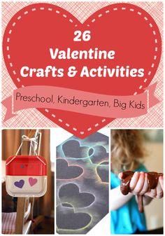 26 Valentine's Day Crafts & Activities  #Preschool #Kindergarten #Kids