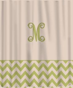 Custom Shower Curtain -Solid with Chevron Lower Border -Personalized - Any colors. $78.00, via Etsy.