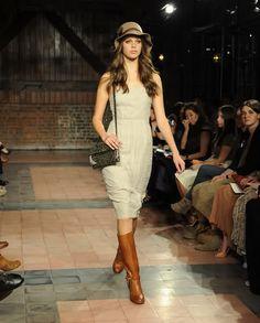 Dress, tall boot, hat