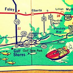 Map Print ALABAMA color map Gulf Shores Orange by VintageBeachMaps