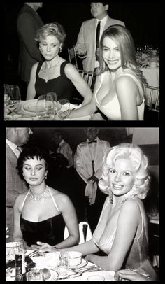 Claire and Gloria of ABC's Modern Family reenacting the famous photo of Sophia Loren and Jayne Mansfield .