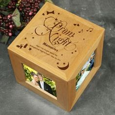 Engrave a box that can be used to put pictures after prom