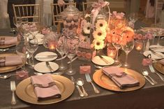 Pink and chocolate tablescape