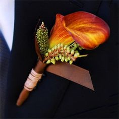 boutonniere - with plum ribbon instead