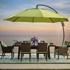 Dine under the sun in comfort with the extraordinary European Side Mount Umbrella