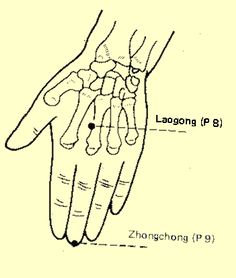"""The Laogong is a point on your hand that revives your consciousness and calms the spirit.  It is an acupuncture point, an acupressure point and breath and chi may also be directed through it.  It is also hypothesized that, """"In Reiki, Laogong is most likely the point through which Dr. Usui channeled Reiki energy."""" @compassionatedragon #laogong #acupuncture #acupressure #chi #chineselore #heart #dendria"""