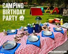 The kids table will be set up in Lost Boys Hideout with camping / nature theme.  Camp plates could be cute.