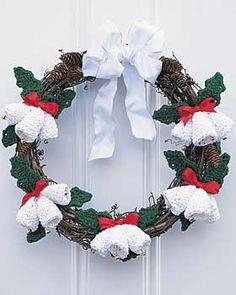 Crocheted Christmas Bells Wreath...Free Pattern