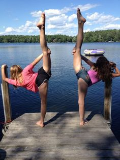 Cheerleaders posing on pier by lake cheer stretch #KyFun m.16.52.1 moved from @Kythoni Cheerleading & Gymnastics: Off the Mat, Field & Floor board http://www.pinterest.com/kythoni/cheerleading-gymnastics-off-the-mat-field-floor/
