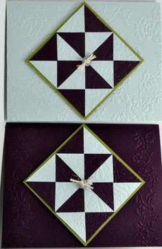 two handmade quilt cards by  bensarmom2 ... strong graphic look in black and white ... quilt blocks in night/day pattern of triangles ... embossing folder card backgrounds and blocks ... luv them! ...