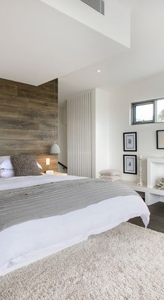 white style, wall panelling bedroom, white bedrooms, wooden feature wall, wood walls, accent walls, bedroom feature wall ideas, bedroom designs, wooden walls