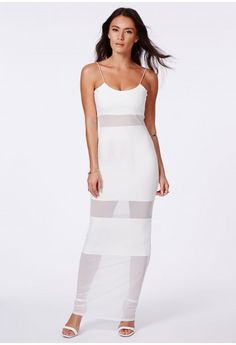 Asmee Mesh Panel Strappy Maxi Dress - Dresses - Maxi Dresses - Missguided