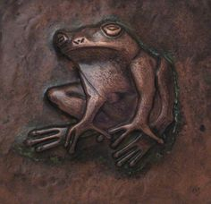 Copper Repousse / Chased Tile - Tree Frog