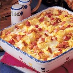Ham and Cheese Puff Recipe  ecipe Ham and Cheese Puff Recipe Ham and Cheese Puff Recipe photo by Taste of Home Rating 4  Read reviews (1)  Rate recipe  This recipe is an absolute winner for brunch, lunch or whatever. People really seem to go for the big chunks of ham combined with the flavors of mustard and cheese. Since it's assembled the night before, it is a great make-ahead potluck dish