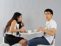 Napkin Table, A Collapsible Cloth Table That Two Diners Wear Together