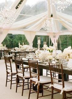 chandeliers + tent+ bamboo chairs