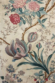 Glorious antique French mid 19th century Indienne / arborescent design printed chintz fabric