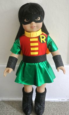 Super Hero costume for 18 doll  Girl Robin parody by geiserweaver, $15.95