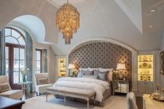 Gorgeous bedroom!!! LOVE the tufted wall/headboard !!