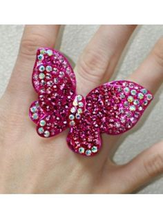 Large Butterfly hot pink rhinestone ring