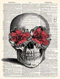 Pink Flower Skull Vintage Dictionary Print Vintage Book Print Page Art Upcycled Vintage Book Art. $8.98, via Etsy.