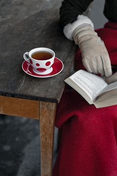 tea with book & gloves