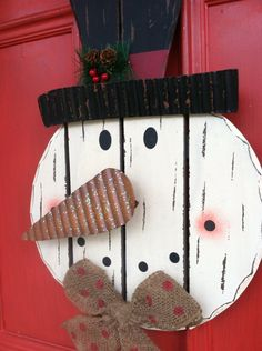 Shabby Chic Snowman Door Decor, FROSTY the Snowman Decor, Christmas Wreath on Etsy, $44.00