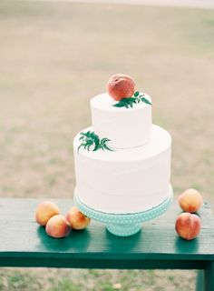 "White and Peach Wedding Cake for our ""Georgia Peach"" Brides"