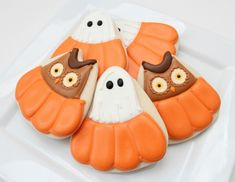 owl and ghost in pumpkin cookies