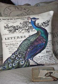 Pillow Cover...peacock pillow decorative cotton burlap pillows. $35.00, via Etsy.