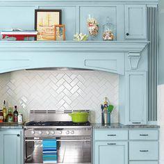 white subway tile kitchen backsplash with zig zag herringbone pattern stove, back splashes, tile patterns, cabinet colors, kitchen backsplash, blue kitchens, herringbone, hous, subway tiles