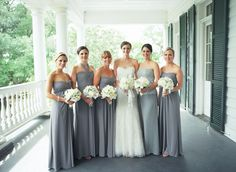 long gray bridesmaid dresses | Liz Banfield #wedding