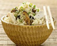 riz vapeur champignon ciboulette et poulet