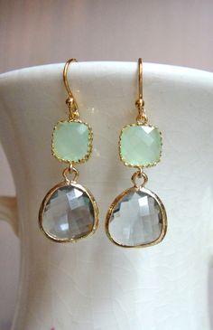 Cool Mint Green and Gray Glass Dangle Earrings. Color Block Earrings. Bridesmaid Earrings. Wedding Earrings.. $32.00, via Etsy.