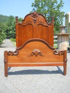 Antique Walnut Victorian High Back Bed ~ Lynchburg Virginia Estate ~ Full Size