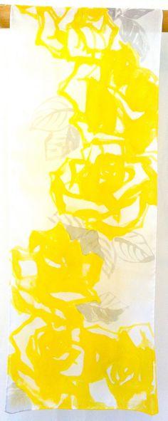 Hand painted Silk Scarf, Floral Silk Scarf. Sweet Yellow Roses Scarf. Silk Chiffon Scarf. Silk Scarves Takuyo. 10x58 in.