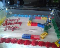 Eli's lego city birthday cake! Those are erasers btw... $2.99 at Meijer for a pack of 4. Wish they were cheaper, but didn't want to put used legos on a cake =)