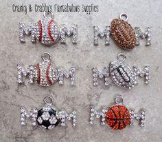 Mom Sports Charms  - 25 to 33mm - Football, Basketball, Baseball, Soccer