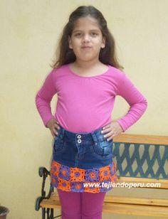 Tutorial: falda jean reciclada con borde tejido en crochet!