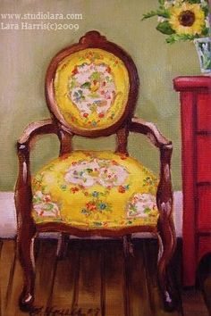 Love French Chairs... Especially recovered in cool fabrics...