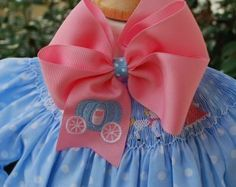 Embroidered Coach Hair Bow Carriage Princess Custom Big Bow Boutique. $9.99, via Etsy.