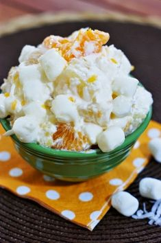 5-Cup Fruit Salad ~ chock full of fruit and marshmallows.  A family favorite fluff salad!  www.thekitchenismyplayground.com #fruitsalad playground, pasta salad, cup salad, fruit salads