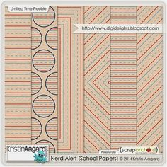 Quality DigiScrap Freebies: Nerd Alert School Papers freebie from Kristin Aagard