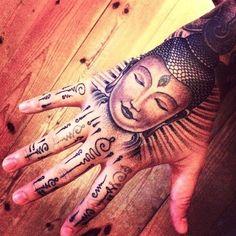 hand tattoo | Tumblr tattoo ideas, hand tattoos, henna art, modern art, hands, buddha tattoo, hand art, tattoo ink, design
