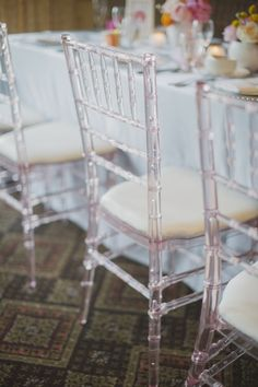 Pink acrylic chivari chairs | Planning and Design by www.kjandco.ca | Photography by Elizabeth In Love Read more - http://www.stylemepretty.com/2013/09/04/burlington-ontario-wedding-from-kj-co-beth-ty-in-love/