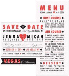 Vegas Save the Date and Menu | by The Green Kangaroo, Inc.