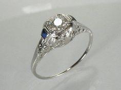 Antique diamond & blue sapphire ring