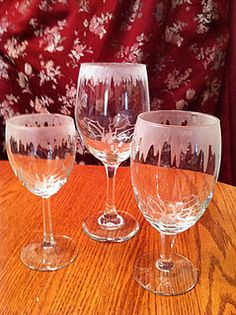 Dripping frost etched glasses; you cut the vinyl with the Cricut