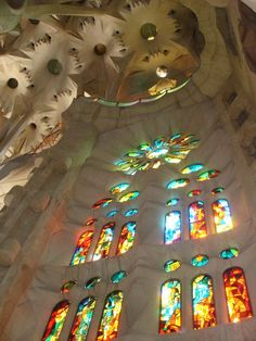 Interior view of Templo Expiatorio de la Sagrada Familia in Barcelona, Spain