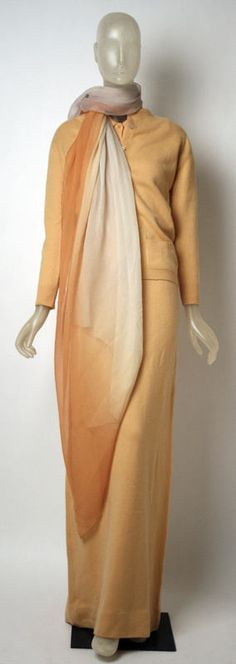 Ensemble Halston (American) ca. 1970-73 wool, silk
